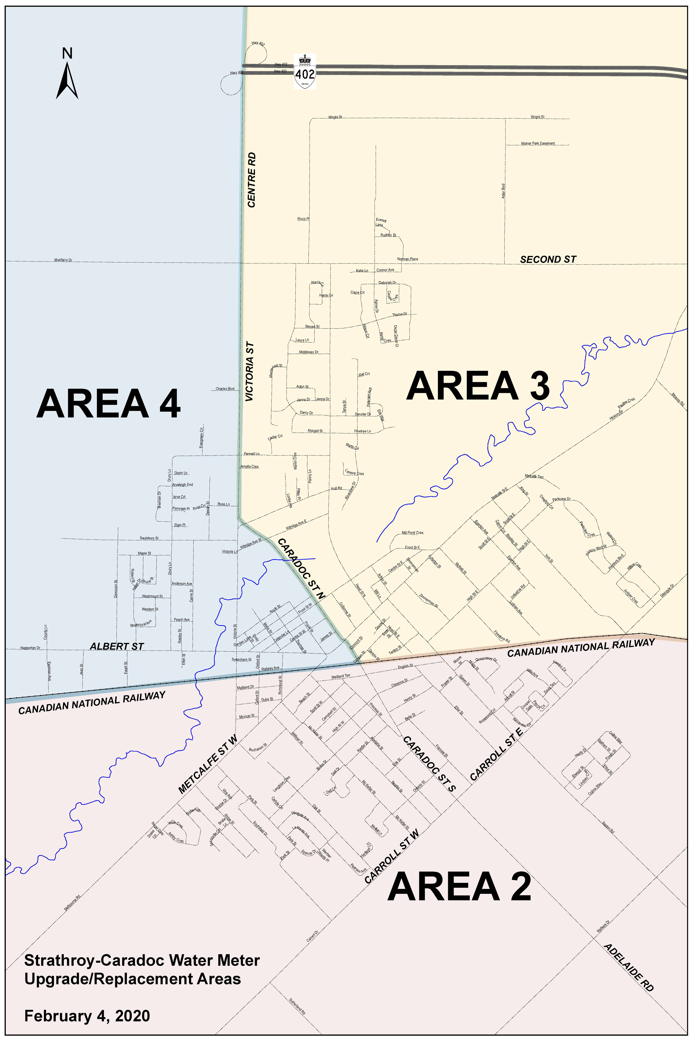 Strathroy Water Meter Replacement Areas