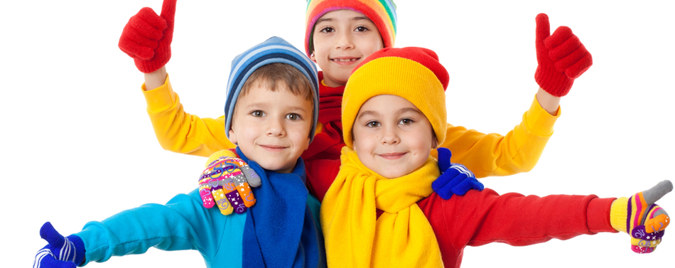 Kids Dressed in Winter Clothing